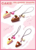 Cake Cellphone Charms by whitefrosty