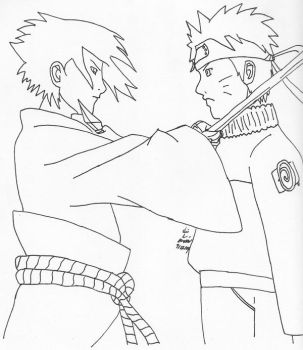 Naruto and Sasuke by fulldemonnaruto