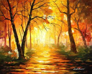 Yellow Fog 3 by Leonid Afremov by Leonidafremov