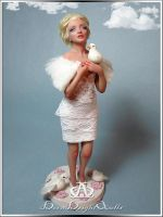 Springtime Marilyn #85 OOAK Sculpture Art Doll by bornbrightdolls