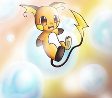 Raichu and Bubbles by Chibixi