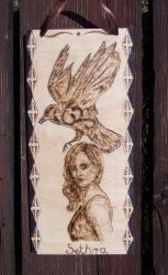 Sethra - a character from my novel with pyrograph by TamaraFaith