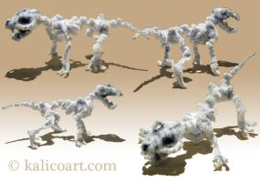 Skeletal Wolf -- Pipe Cleaners by kalicothekat