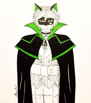 Inktober Day 30 - Chat Noir as a Vampire by Serina67
