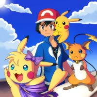 Pika Trio and Ash are saying Hello by Jacky-Bunny