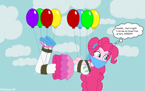 Flying up high with Pinkie Pie by Robukun