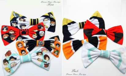 Double Sided Haikyuu!! Bows by fullmoonnightonigiri