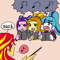 Sunset Shimmer and Dazzlings by raika0306
