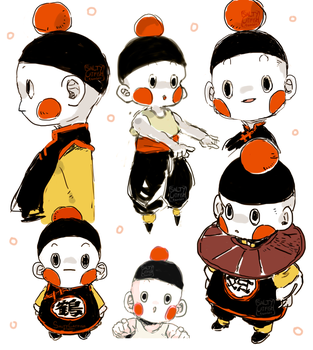 DBZ: Chiaotzu Doodles by saltycatfish