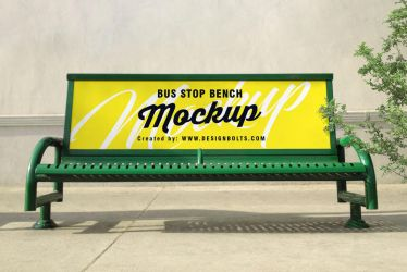 Free Outdoor Advertising Bus Stop Bench Mockup PSD by Designbolts