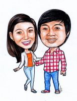 couple caricature for Jomar by melcasipit