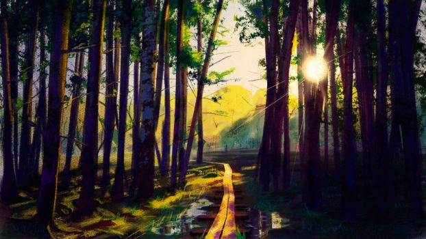 Sunlit forest 2 by vano1337