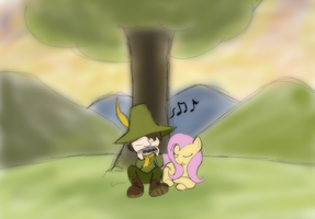 Snufkin and Fluttershy by Enma-Darei