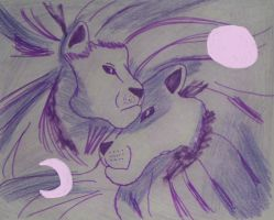 Spirit Moon and Sun Lion by mkl91