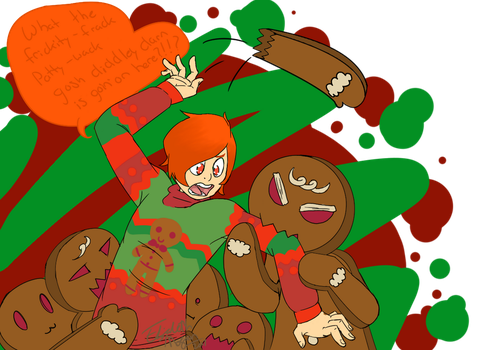 Gingerbread attack -ART TRADE- by Glory-daze