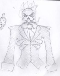 [Rough Sketch] Skull Kamen (Manga Kamen) by roninator001