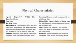Evalin's Physical Characteristics by LaBelleSouffrance