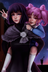 Chibiusa and Hotaru (commission) by koreenmica