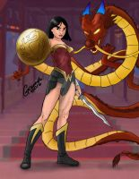 Disney Heroes - Mulan and Mushu - Wonder Woman by lapidoth45