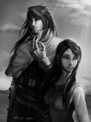 Final Fantasy VII Vincent and Tifa greyscale by Mely-Val