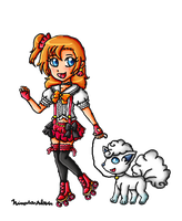 AT: Kousaka Honoka and Alola Vulpix by ninpeachlover