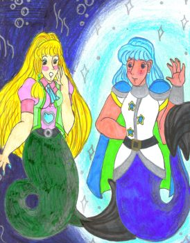 Sandra and Merman Brian by Winter-Colorful