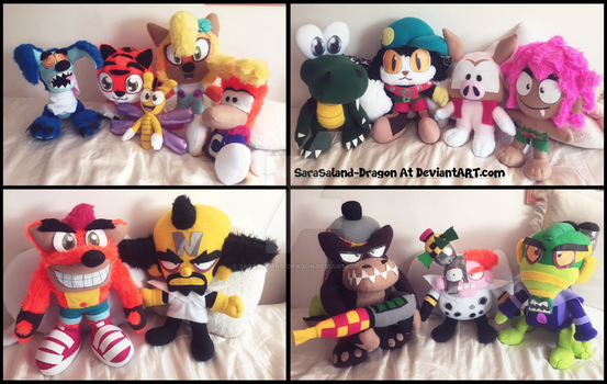 Commissions: 14 Plushies by Sarasaland-Dragon