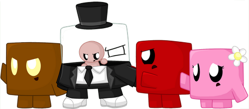Brownie, Dr. Fetus, Meat Boy and Bandage Girl by Carol2015