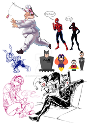 Marvel and DC sketches by Sakuyamon