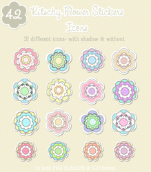 Kitschy Flower Stickers Icons by kittenbella