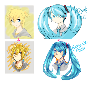 Vocaloid Re-Draws: 2012 vs 2015 by whimsilli