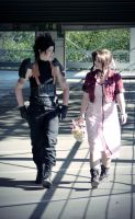Below the plate - Zack and Aerith by xSan-chi