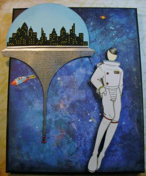 Marisol Prima Doll space station on canvas Jun2017 by CMandMJewelry