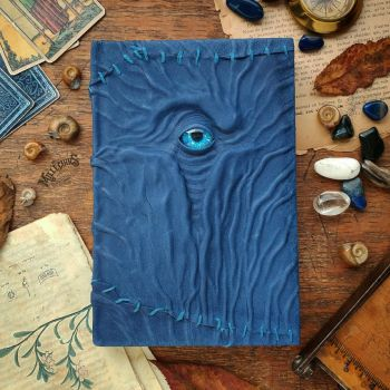 Blue stitched leather necronomicon by MilleCuirs
