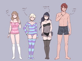 Concept Art - Height Comparison (Nightwear) by Teh-Dave