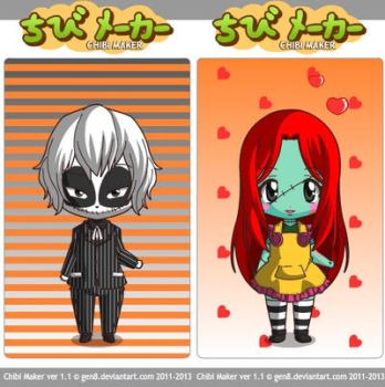 Chibi Jack and Sally by mkl91