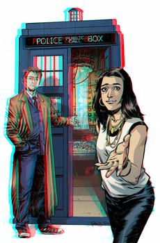 The Tenth Doctor and Gabby Gonzalez in 3D Anaglyph by xmancyclops