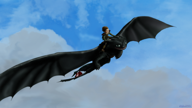 Hiccup and Toothless's Epic Flight by Fragsey