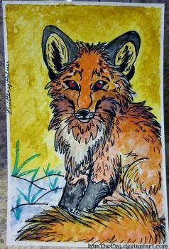 Watercolor Experiment: Red Fox by IAmTheEvy