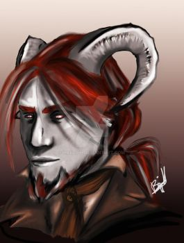 Rutak, father of Tinder, Tiefling bard by Hallith