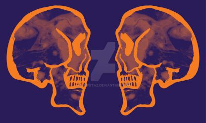 ORANGE AND PURPLE SKULL by Dumpstaz