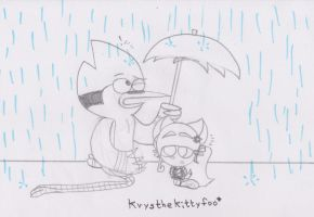 Big brother and little sister in the rain by RegularBluejay-girl