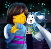 Temmie and Frisk by Nilata