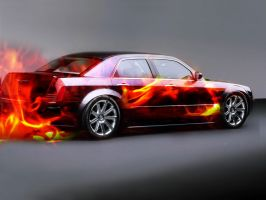 Car on Fire by flysnowboardguy