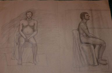 Life drawing with model for first time by jablar
