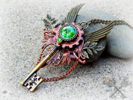 Guardian of the Forest Key Necklace by ArtByStarlaMoore