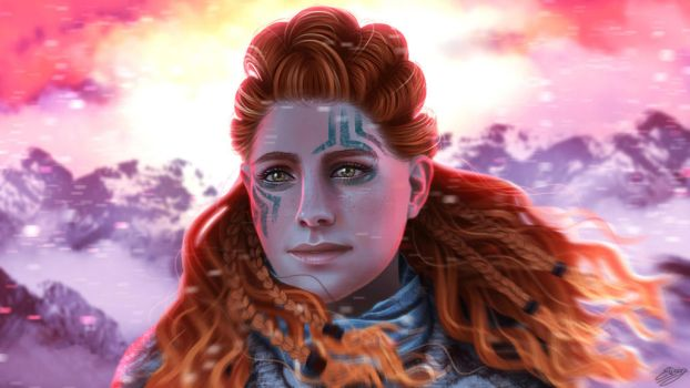 The Frozen Wilds - Aloy (sunrise/sunset version) by ElyGraphic