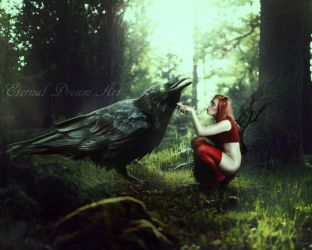 Faerie And Crow by Eternal-Dream-Art