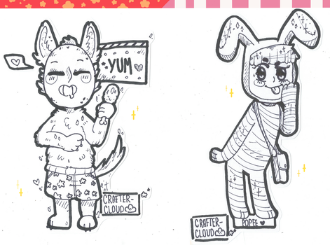 [Sketch] [Popee and Kedamono STICKERS!] [WIP] by CrafterCloud45