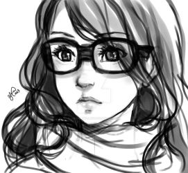 Girl with glasses Sketch by Lukia-Lokelani